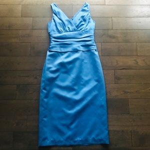 David's Bridal Blue Bridesmaid Dress 10